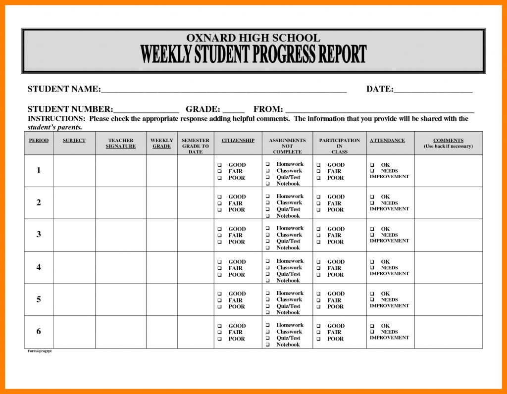Weekly Progress Report Template Student Pdf Project Ent Testing For Weekly Test Report Template