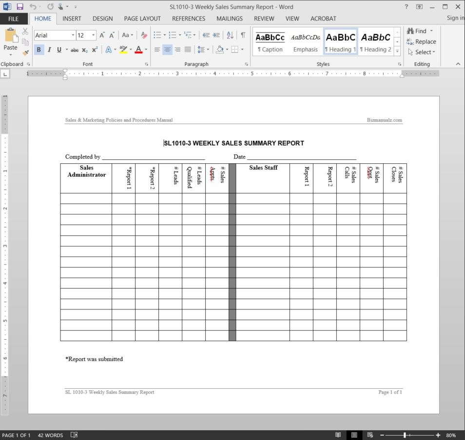 Weekly Sales Summary Report Template With Weekly Manager Report Template