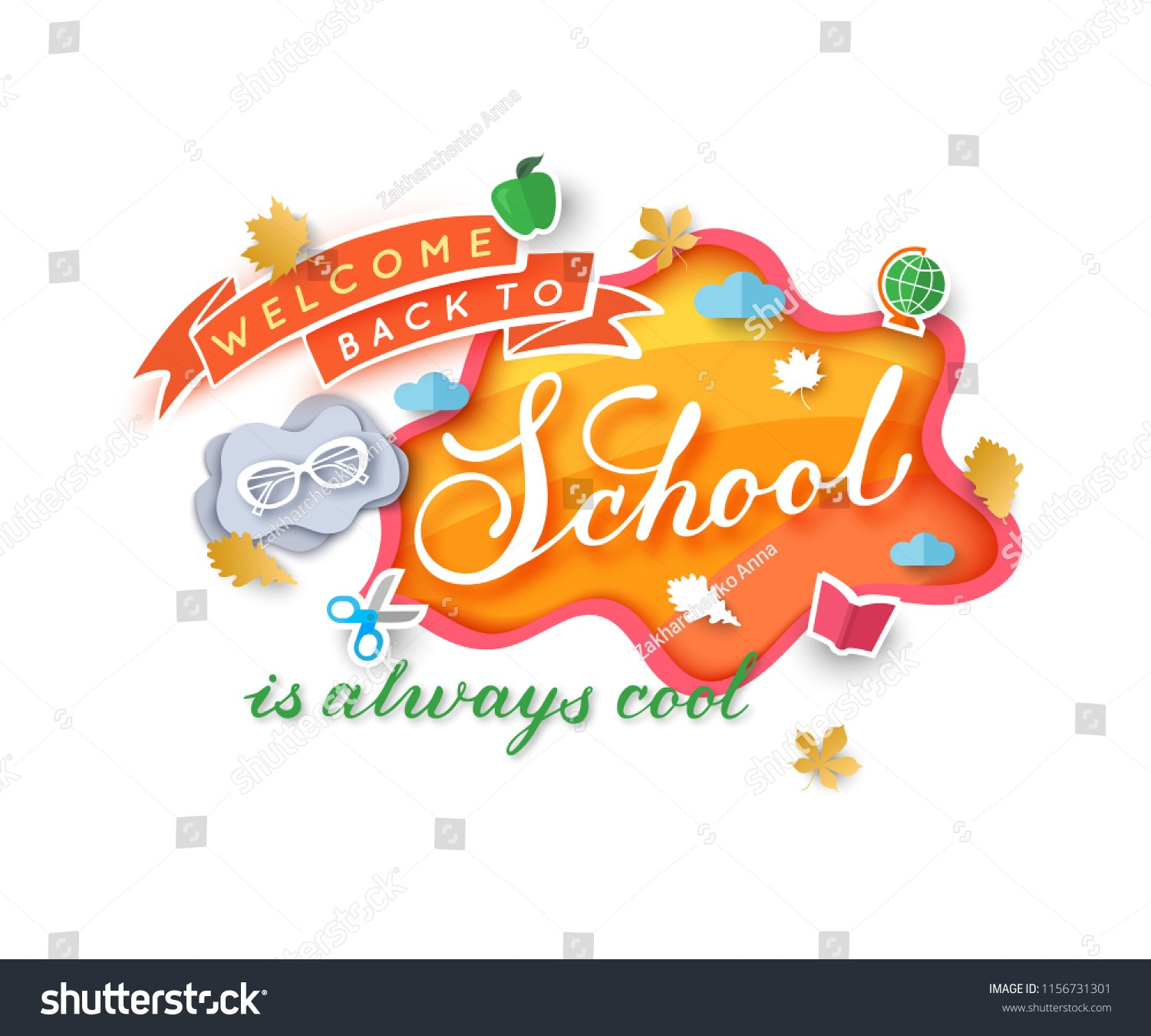 Welcome Back School Banner Template Paper Stock Vector Royalty Free With Regard To Welcome Banner Template