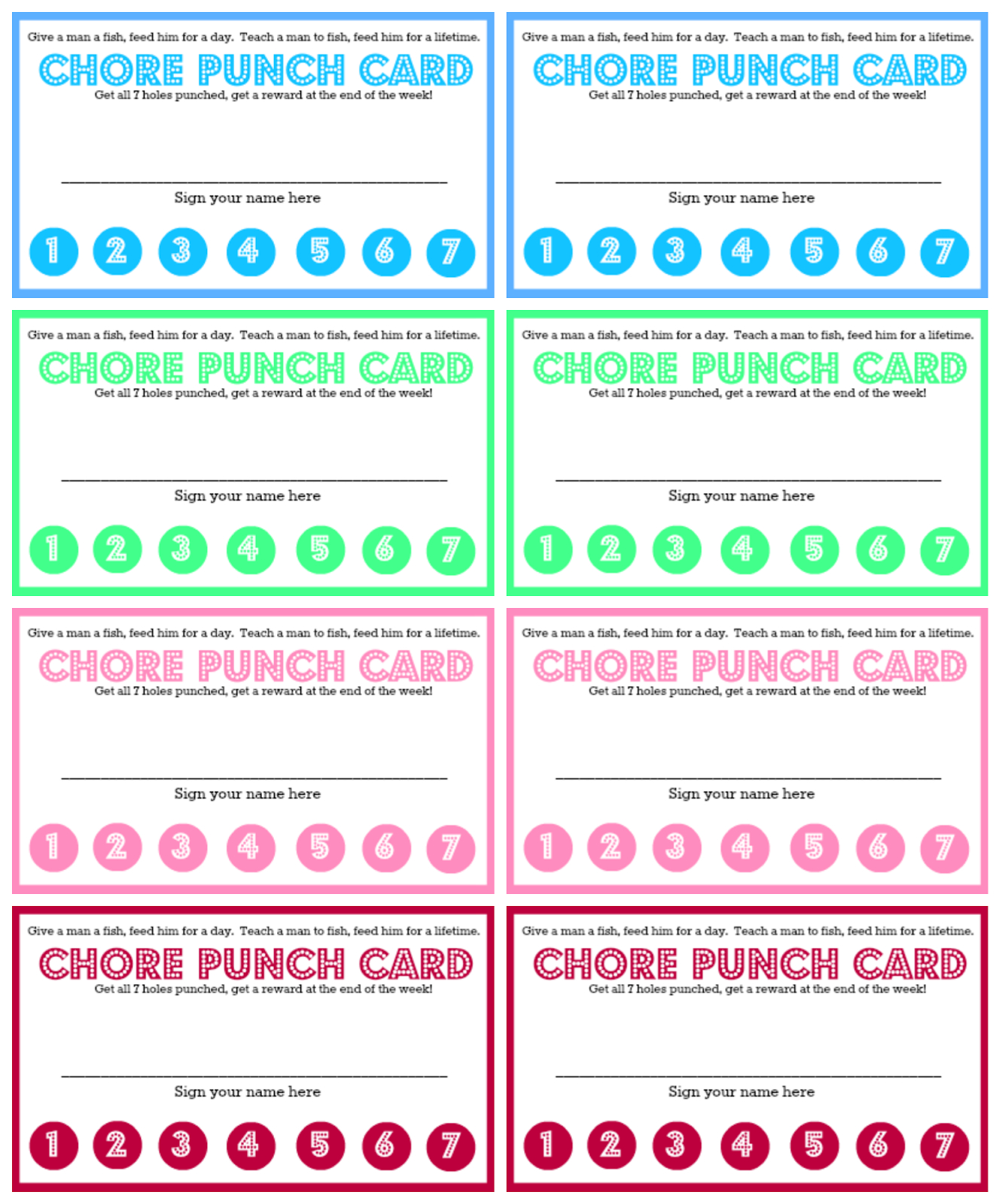 Westmount Chore Chart And Chore Punch Card For Kids  For The In Reward Punch Card Template