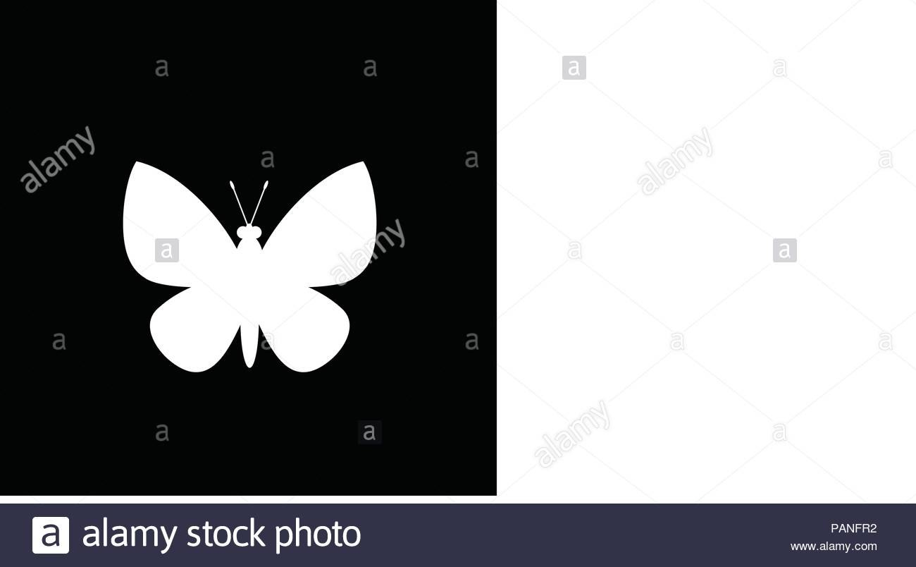 White Silhouette Of Butterfly Isolated On Black Background Vector With Regard To Butterfly Labels Templates