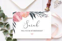 Will You Be My Bridesmaid Card Bridesmaid Proposal Card Floral  Etsy inside Will You Be My Bridesmaid Card Template