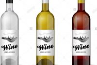 Wine Bottle With Handdrawn Label Retro Vintage Design Template Set intended for Wine Bottle Label Design Template