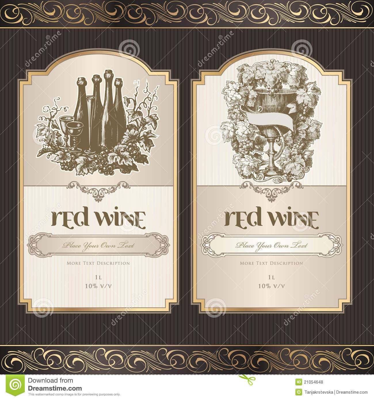 Wine Label Template Free Set Of Labels Stock Vector Illustration Pertaining To Free Wedding Wine Label Template
