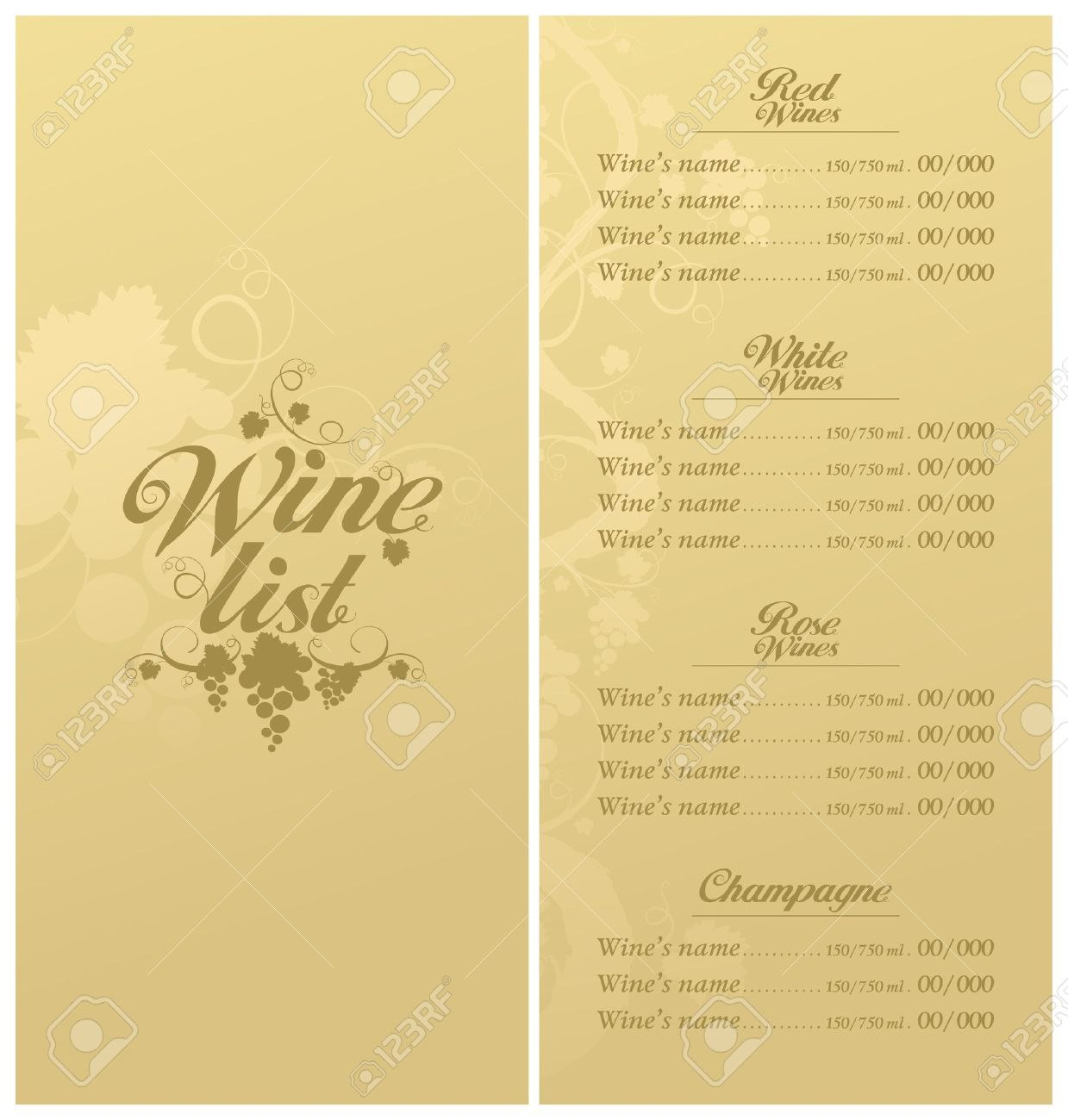 Wine List Menu Card Design Template Royalty Free Cliparts Vectors Regarding Free Wine Menu Template