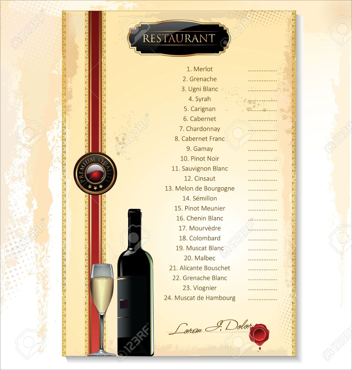 Wine Menu Template With A Price List Royalty Free Cliparts Vectors For Free Wine Menu Template