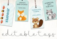Woodland Baby Shower Labels  Printable Gift Tags  Baby Shower intended for Baby Shower Label Template For Favors