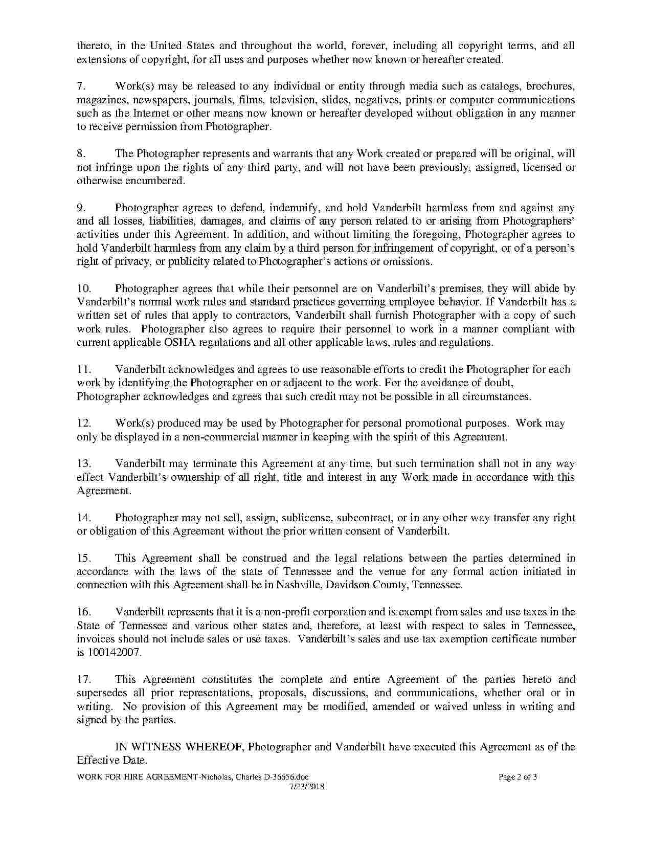 Work For Hire Agreement  Templates Hunter In Work Made For Hire Agreement Template