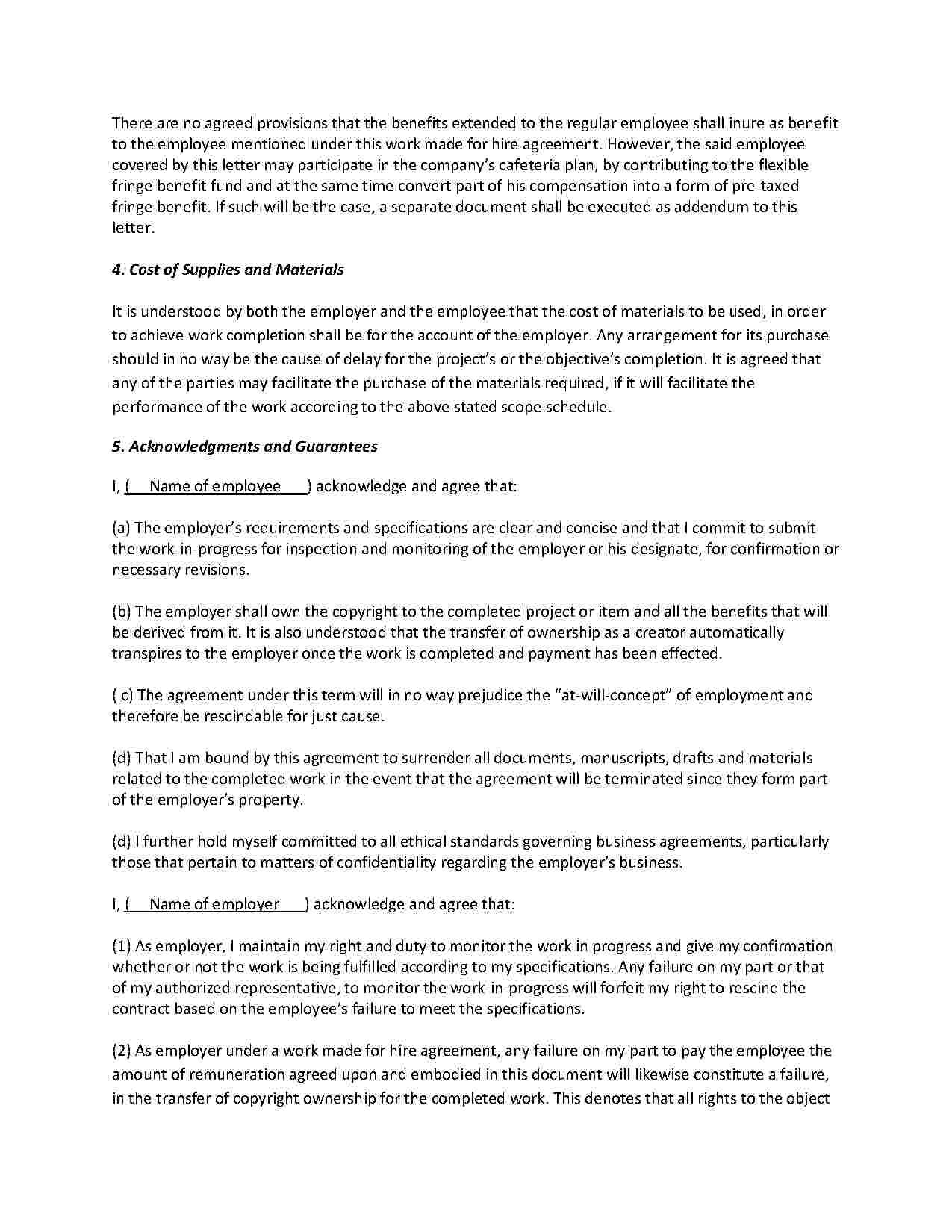 Work For Hire Agreement  Templates Hunter With Work Made For Hire Agreement Template