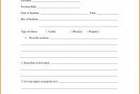 Workplace Harassment Incident Report Form  Sansurabionetassociats with Fracas Report Template