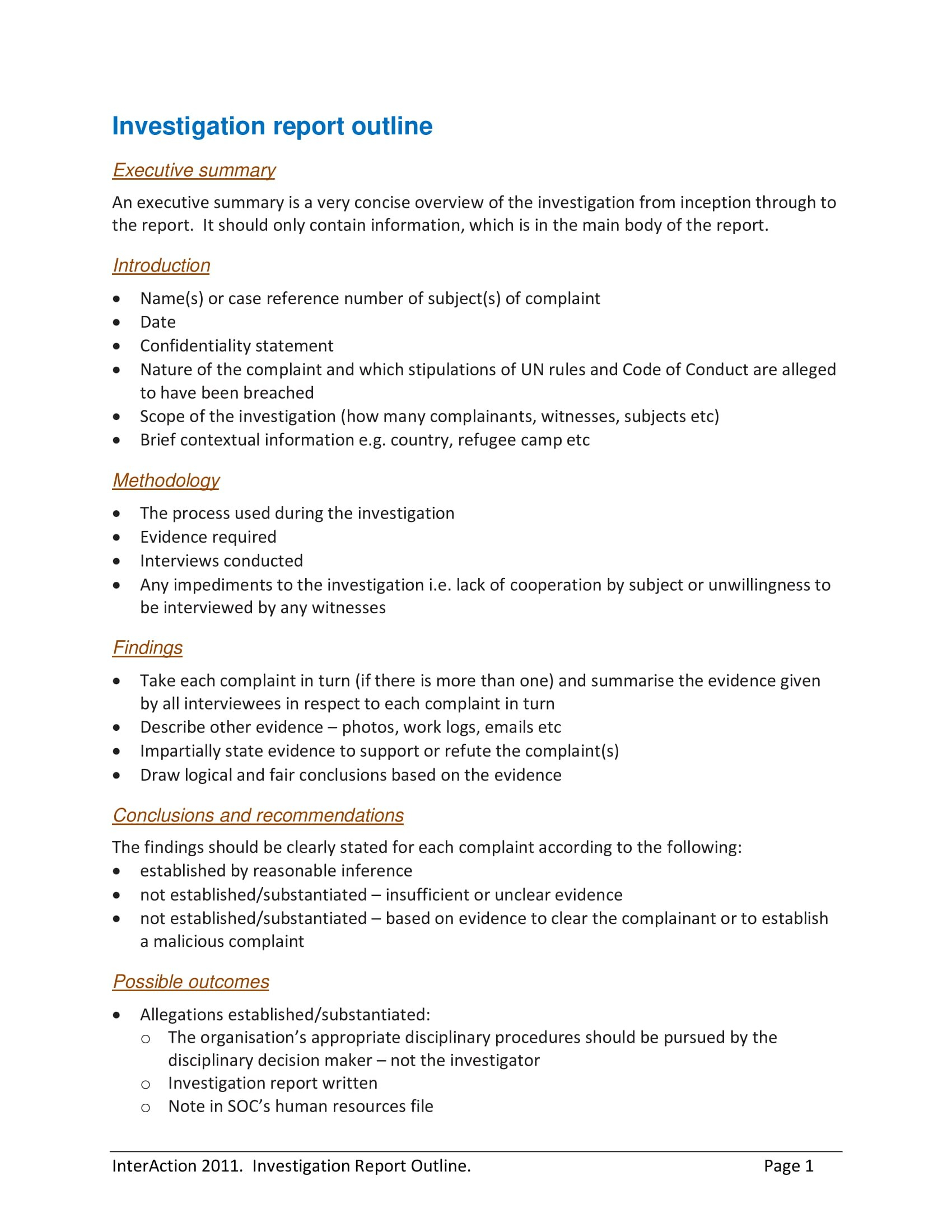 Workplace Investigation Report Examples  Pdf  Examples With Sexual Harassment Investigation Report Template