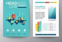 World Map And Pin Social Network Flyer Design Vector Image inside Social Media Brochure Template