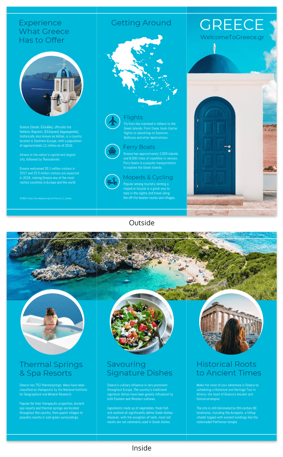 World Travel Tri Fold Brochure Template  Venngage With Regard To Island Brochure Template