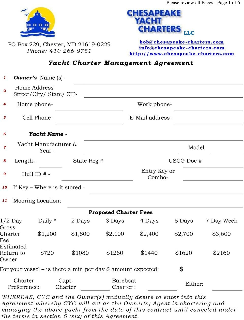Yacht Charter Management Agreement  Pdf Pertaining To Yacht Charter Agreement Template