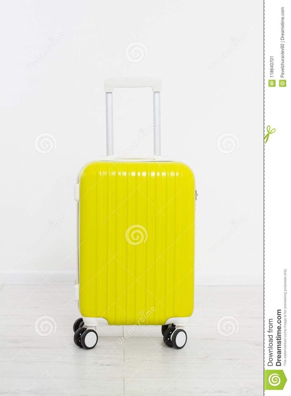 Yellow Suitcase On White Background Summer Holidays Travel Valise Inside Blank Suitcase Template