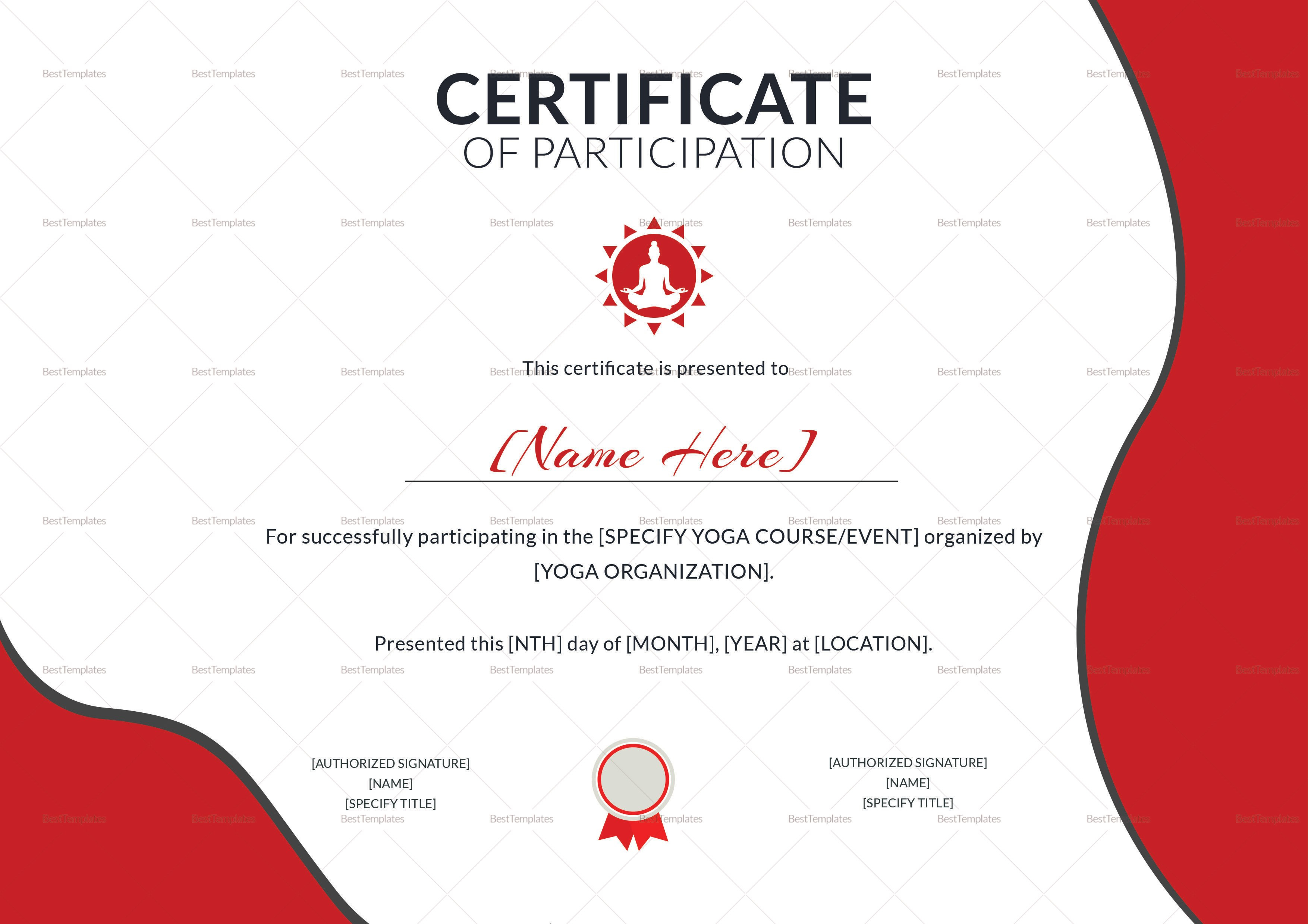 Yoga Participation Certificate Design Template In Psd Word With Templates For Certificates Of Participation