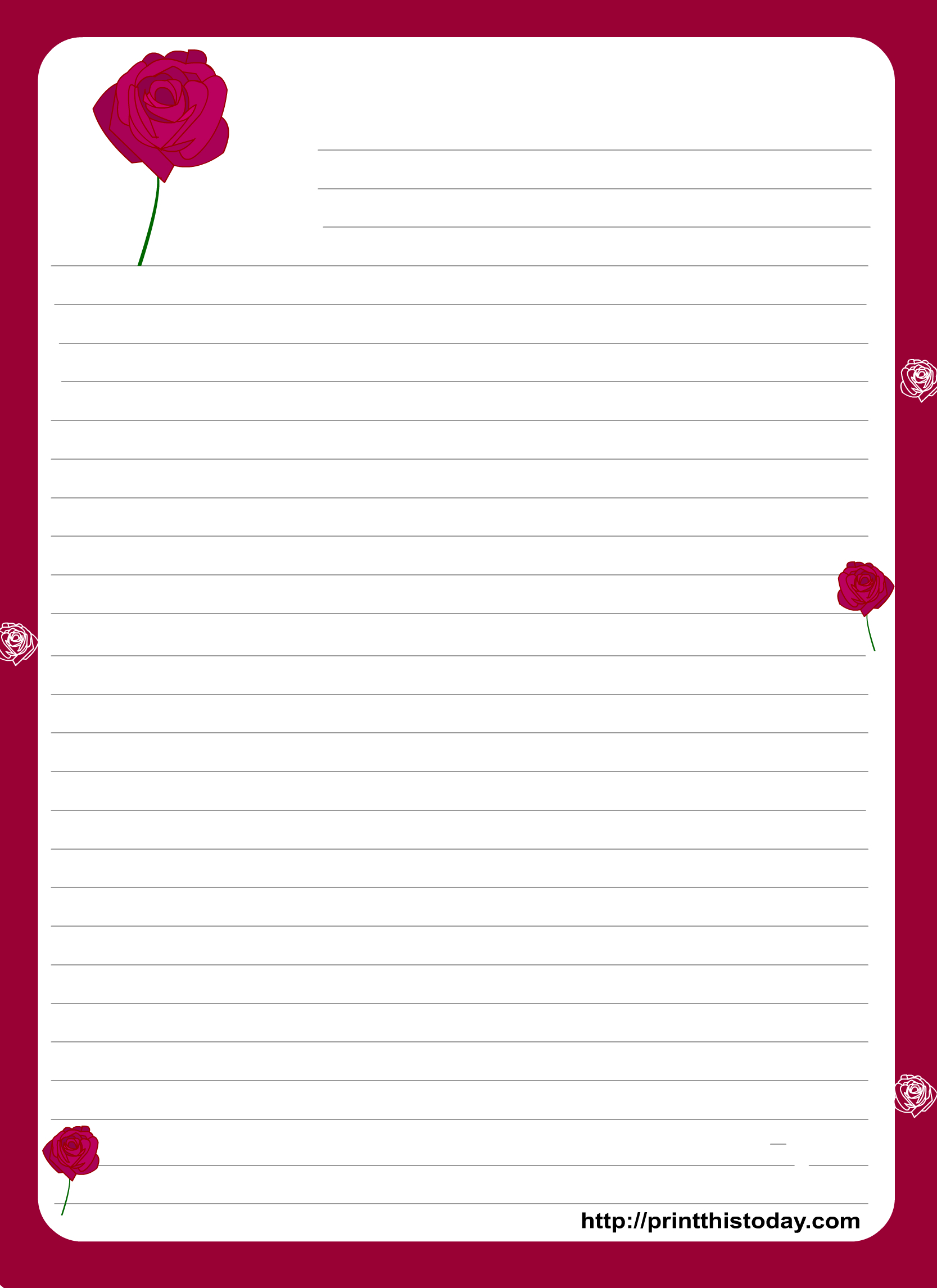 A Cute Letter Writing Paper Decorated With Cute Hearts Is Great To With Template For Love Letter
