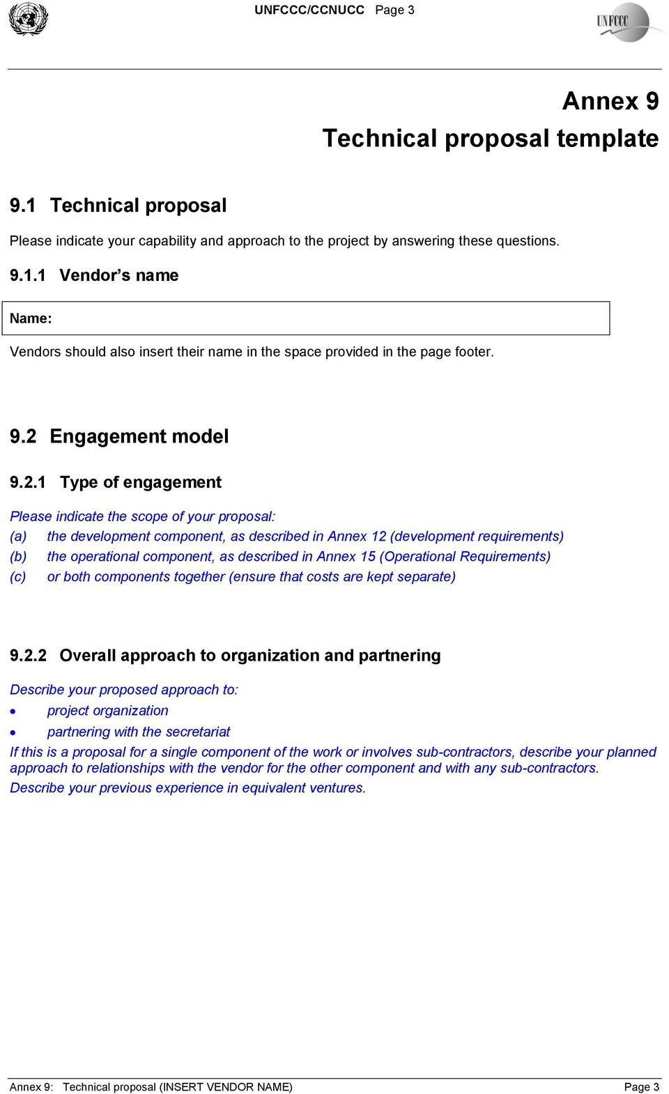 Annex  Technical Proposal Template Table Of Contents  Pdf For Technical Proposal Template