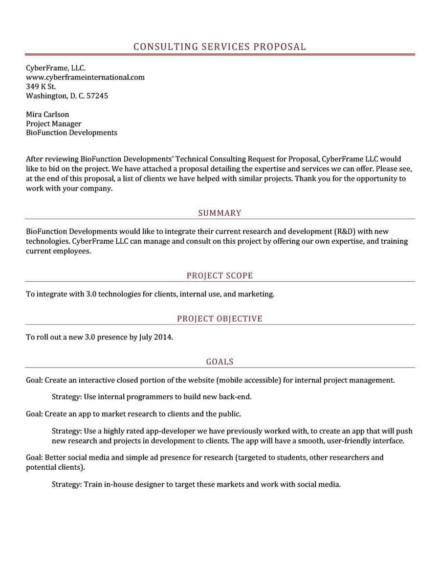 Best Consulting Proposal Templates Free ᐅ Template Lab Within Consulting Project Proposal Template