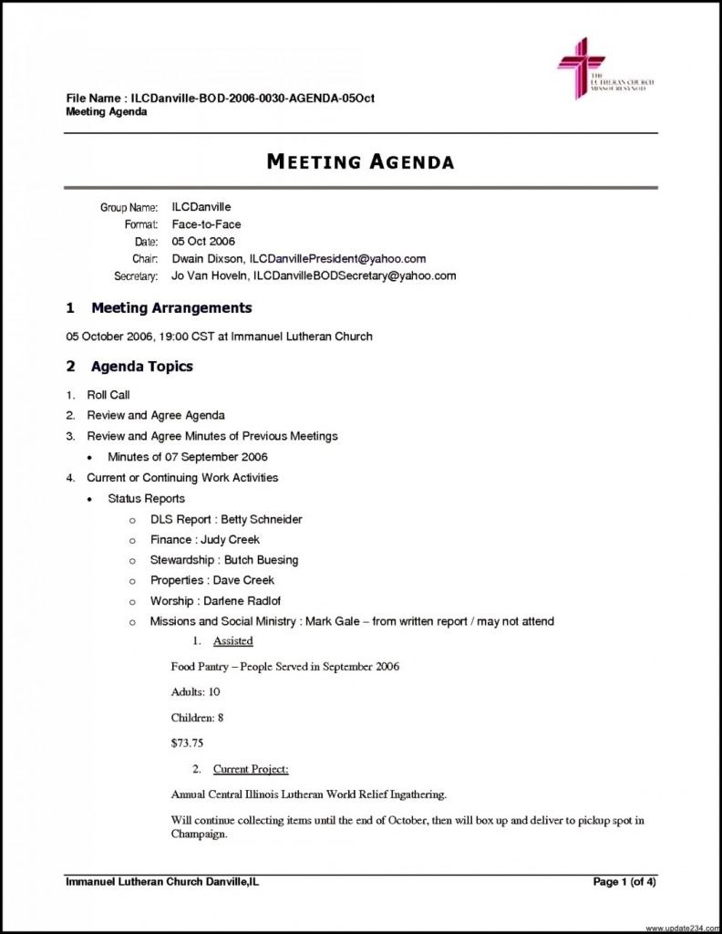 Best Meeting Agenda Sample Format Template Word Layout Good Throughout Non Profit Board Meeting Agenda Template