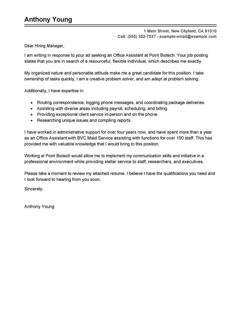 Best Office Assistant Cover Letter Examples  Livecareer Intended For Cover Letter Template For Office Assistant