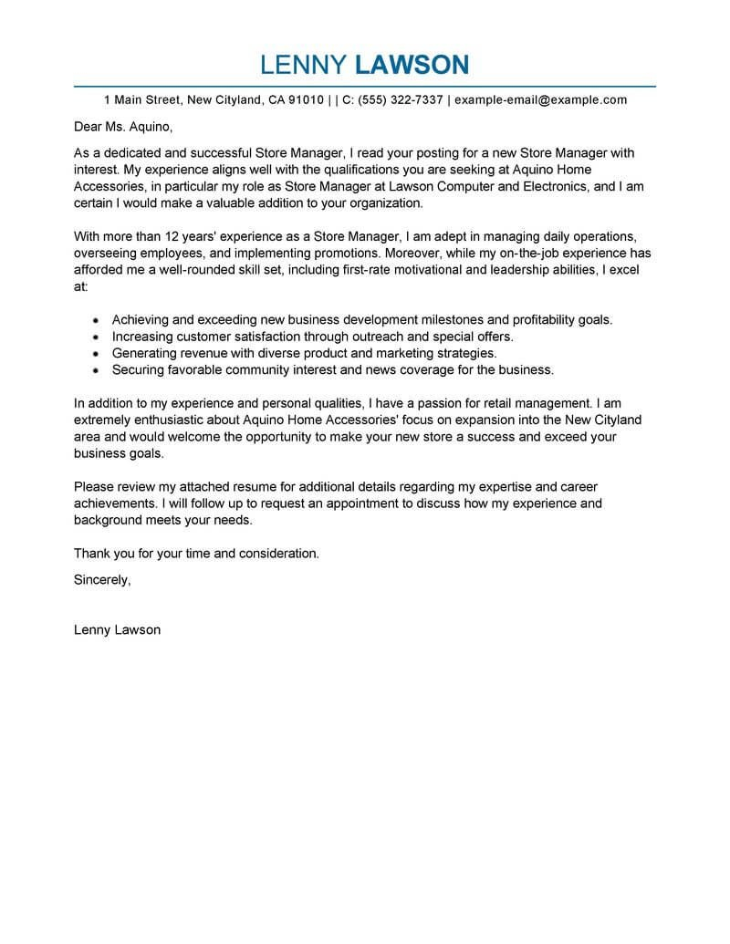 Best Store Manager Cover Letter Examples  Livecareer Intended For Request Letter For Internet Connection Template