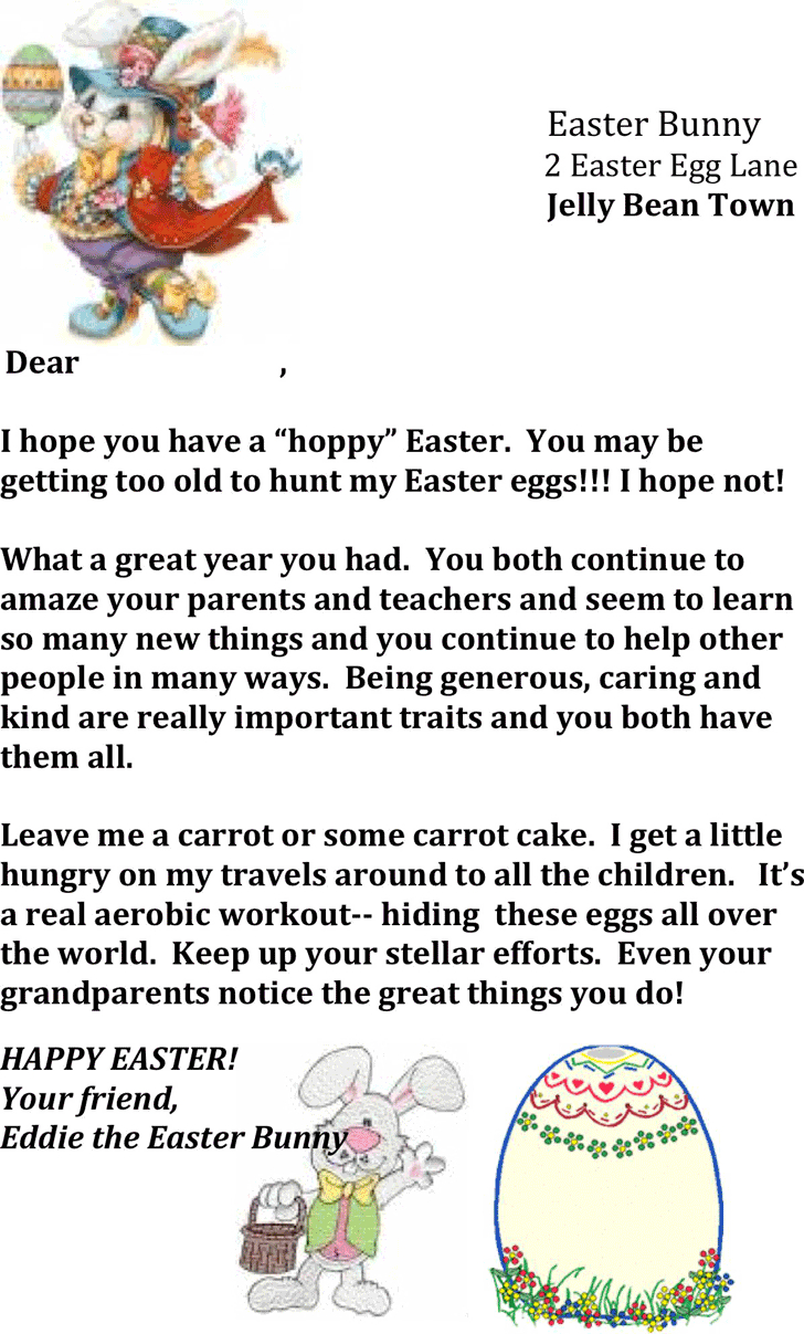Blank Easter Bunny Letter Template  Paper Crafts  Letter Templates With Letter To Easter Bunny Template