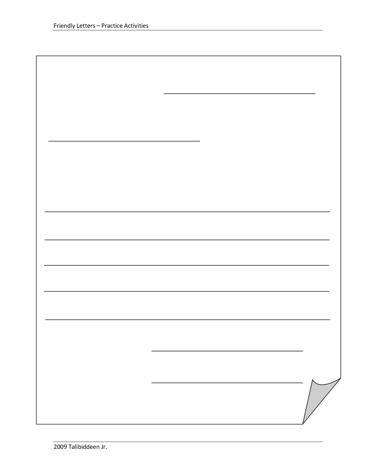 Blankletterformattemplate  Michelle  Friendly Letter Letter In Letter Writing Template For Kids
