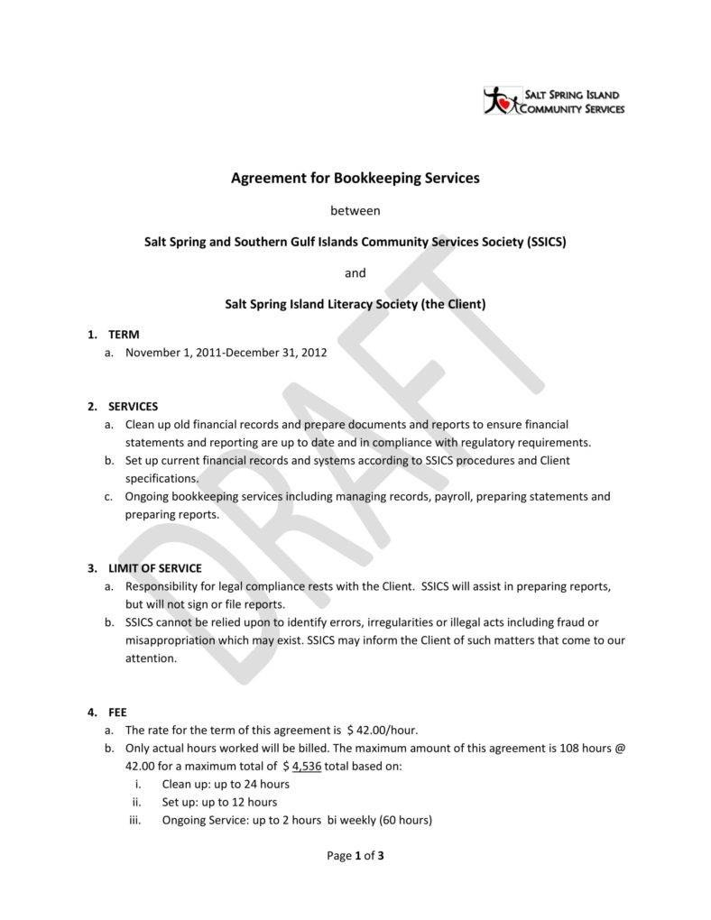 Bookkeeping Contract Templates  Pdf Word  Free  Premium Templates Within Bookkeeping Letter Of Engagement Template