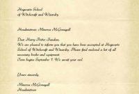 Brief Von Hogwartsvorlage   Muster Lebenslauf with Harry Potter Letter Template