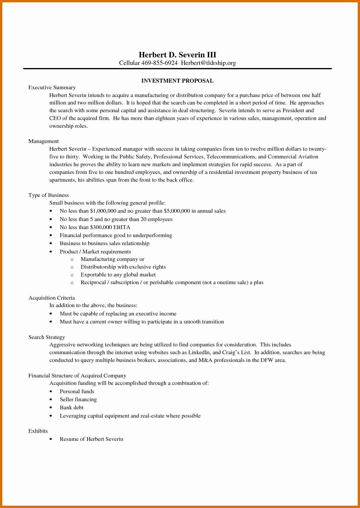 Business Investment Proposal Template  Wilkesworks With Investor Proposal Template