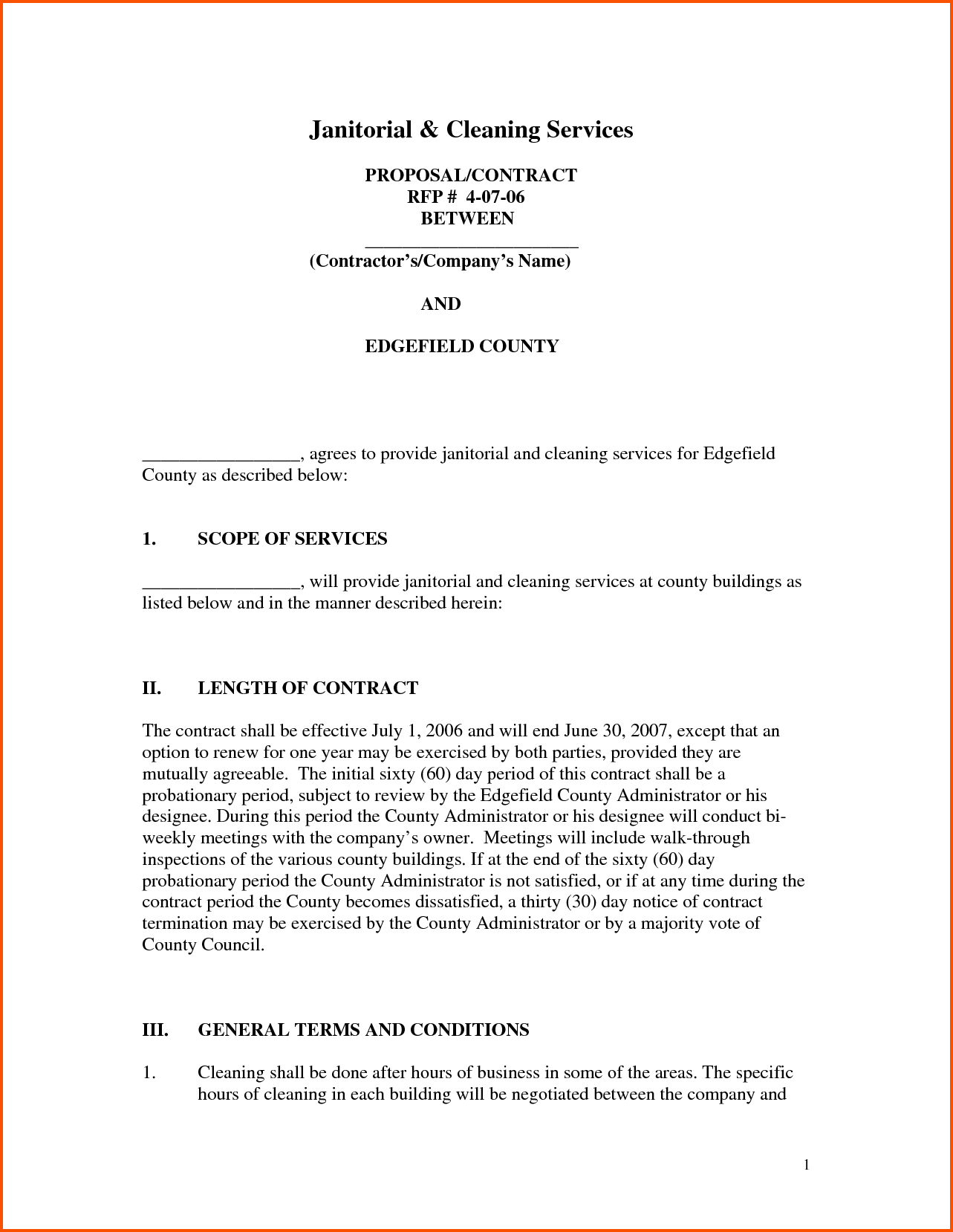 Cleaning Proposal Template Sample Cleaning Proposal Template  Free Inside Janitorial Proposal Template