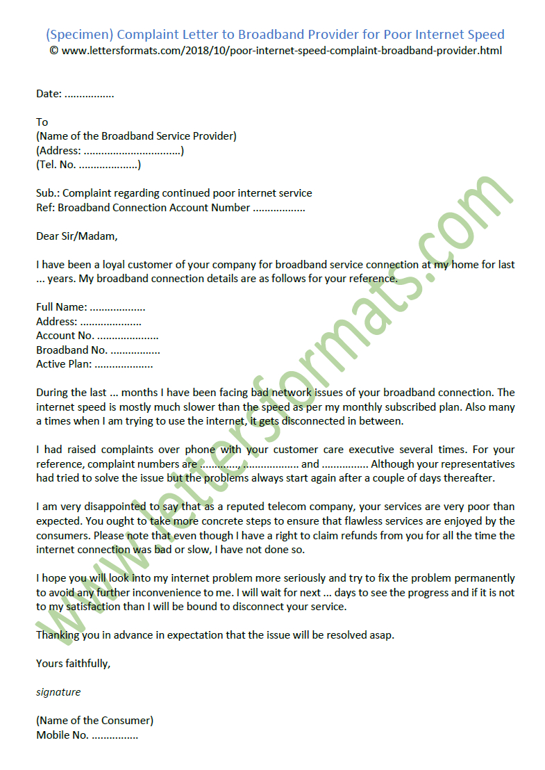 Complaint Letter To Broadband Provider For Poor Internet Speed Sample Regarding Request Letter For Internet Connection Template