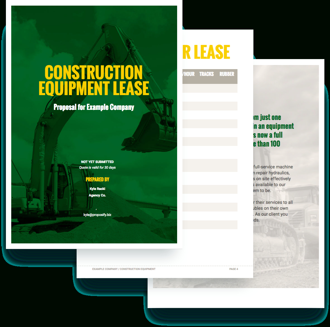 Construction Equipment Proposal Template  Free Sample  Proposify Within Equipment Proposal Template