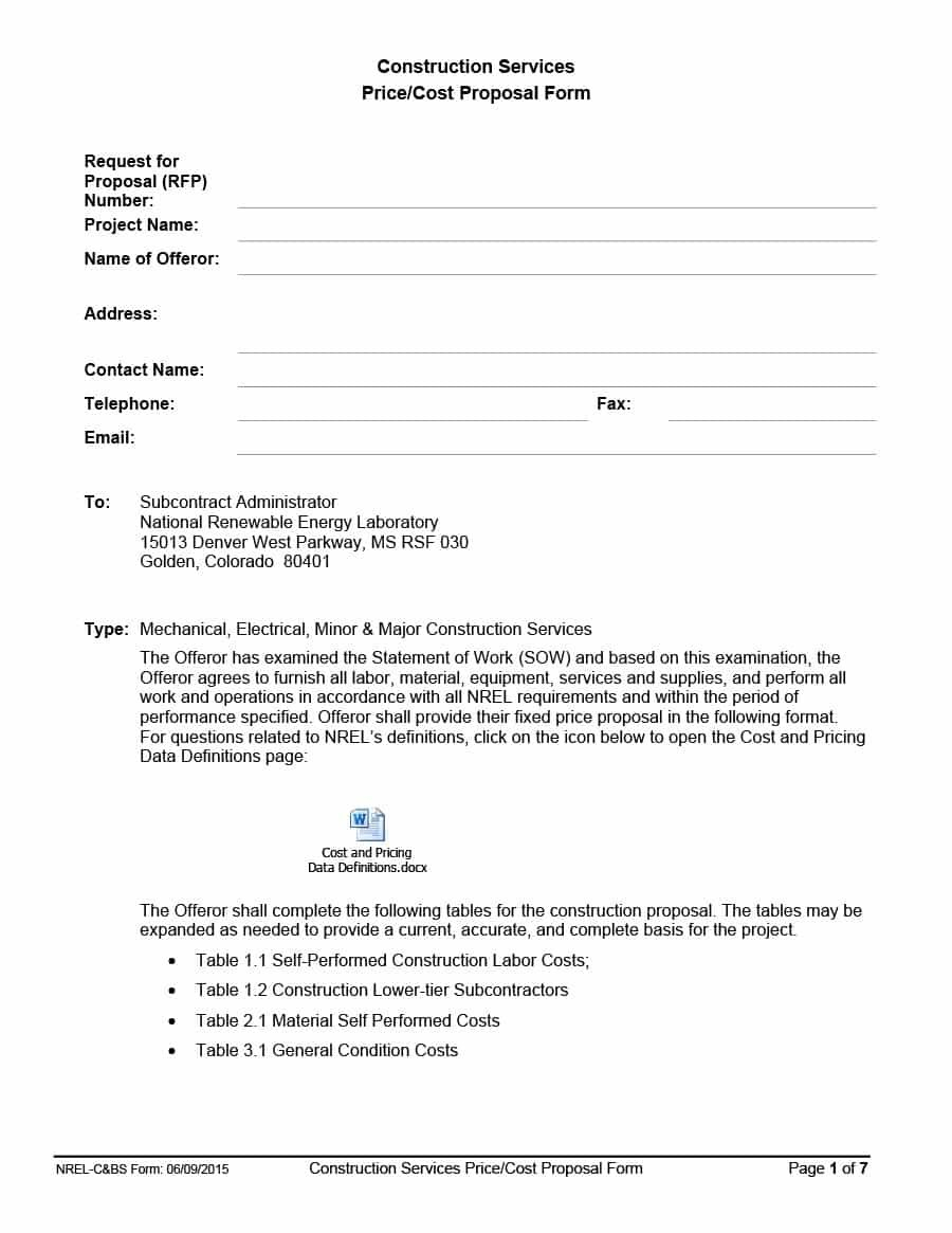Construction Proposal Template  Construction Bid Forms Throughout Pricing Proposal Template