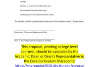 Core Curriculum Course Proposal Template for Course Proposal Template