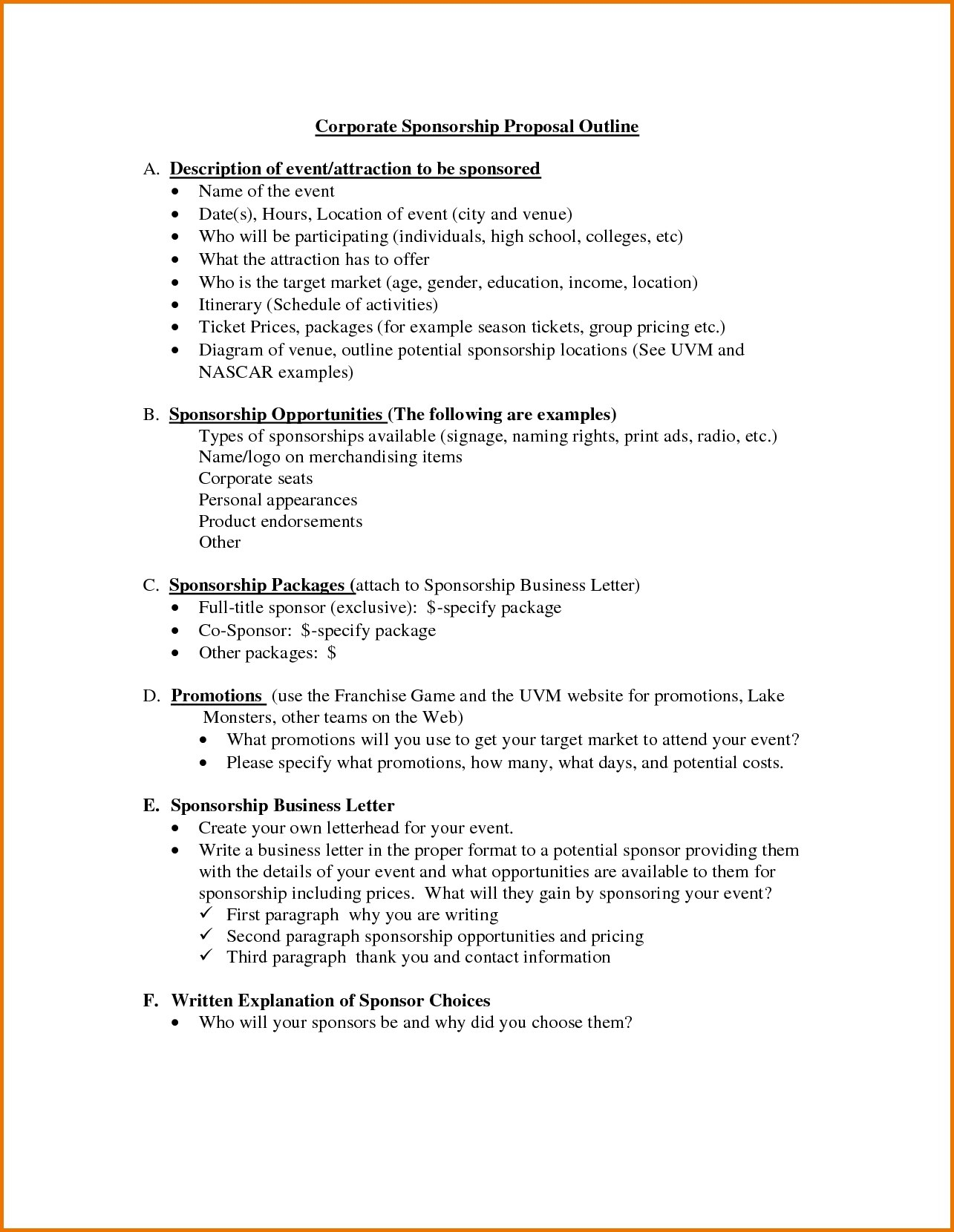 Corporate Sponsorship Proposal Template And Outline Sample For Your In Corporate Sponsorship Proposal Template