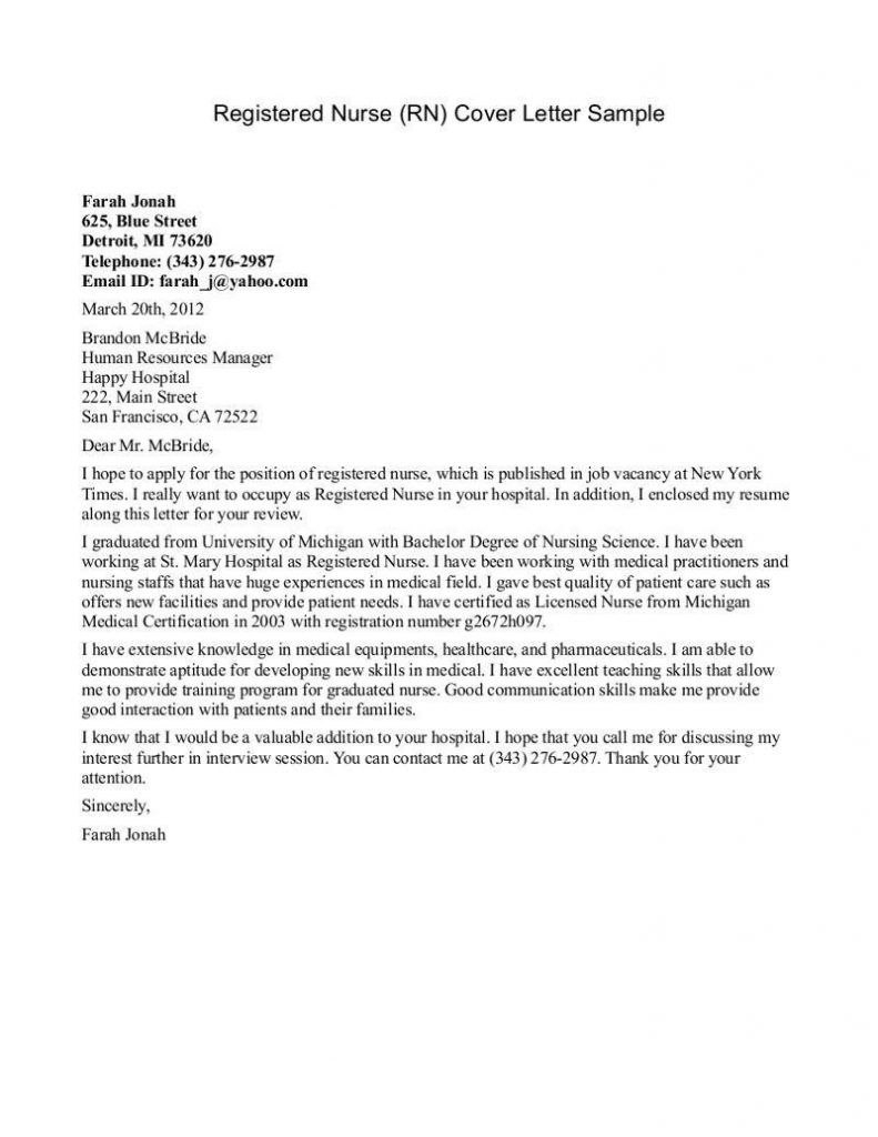 Cover Letter Template New Graduate  Cover Letter For Resume  Cover In Rn Cover Letter Template