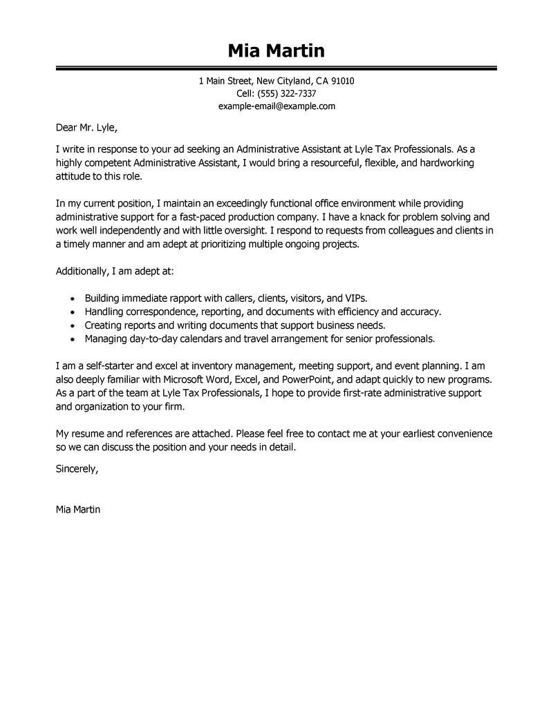 Cover Letter Template Office Assistant  Cover Letter Template Regarding Cover Letter Template For Office Assistant