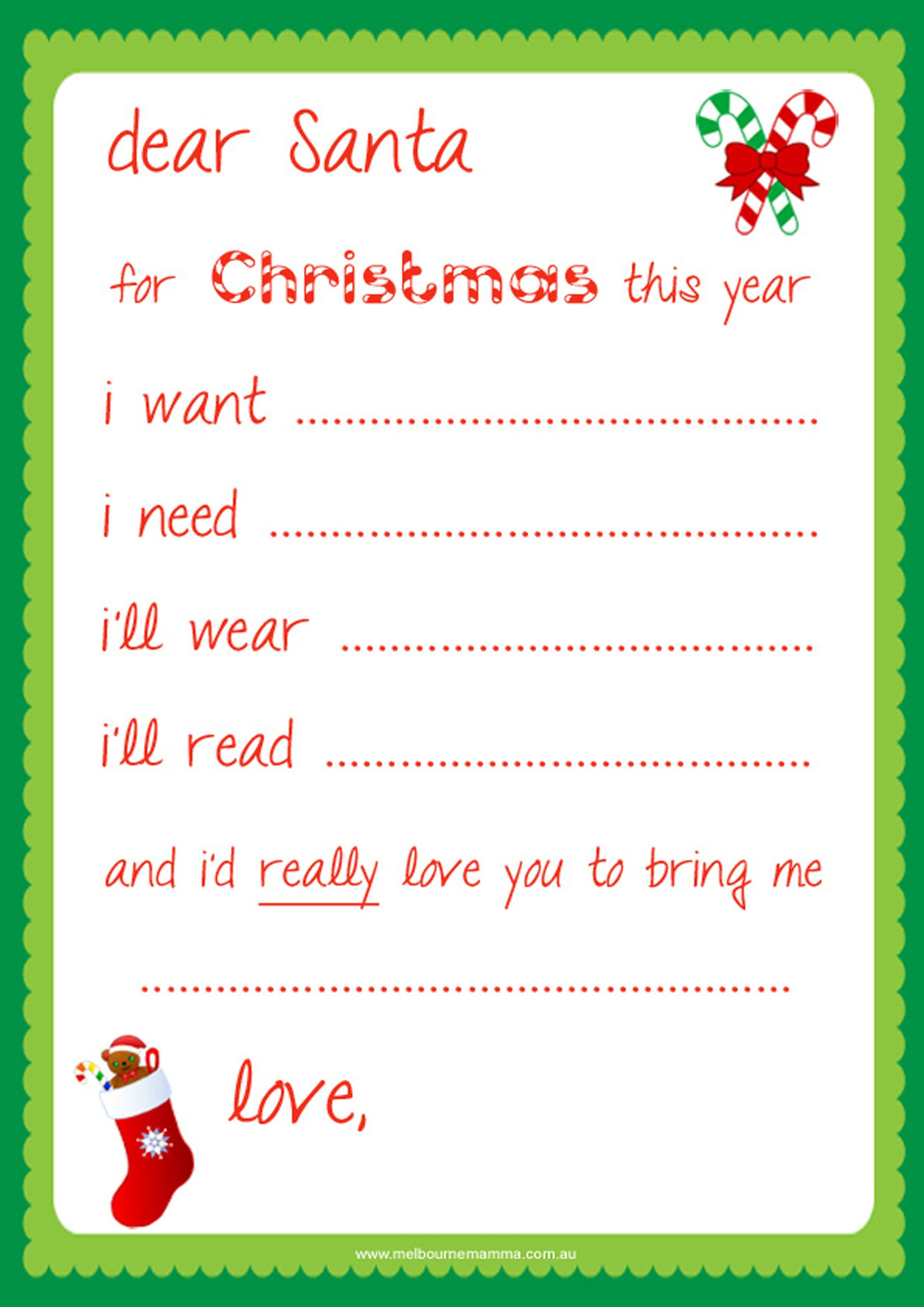 Dear Santa Letter Template Free Examples  Letter Cover Templates For Dear Santa Template Kindergarten Letter