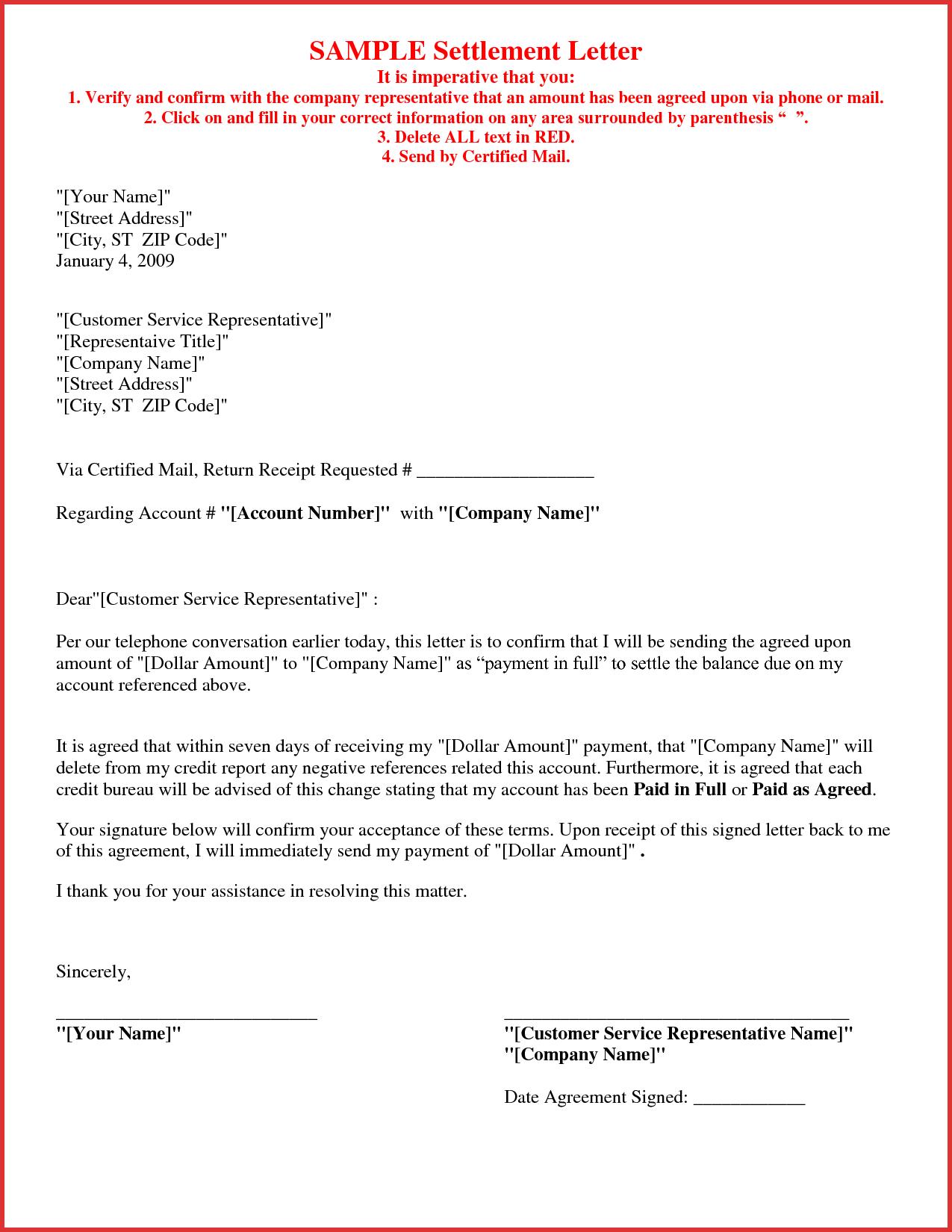 Debt Settlement Agreement Letter Template Collection  Letter Templates For Settlement Agreement Letter Template