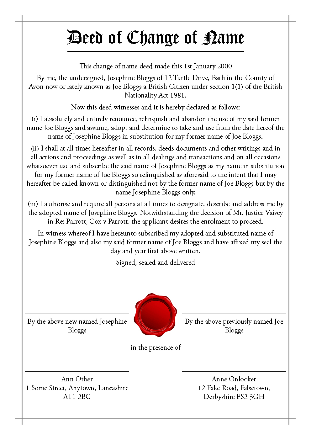 Deed Polls And Stat Decs  Transfigurations With Deed Poll Name Change Letter Template