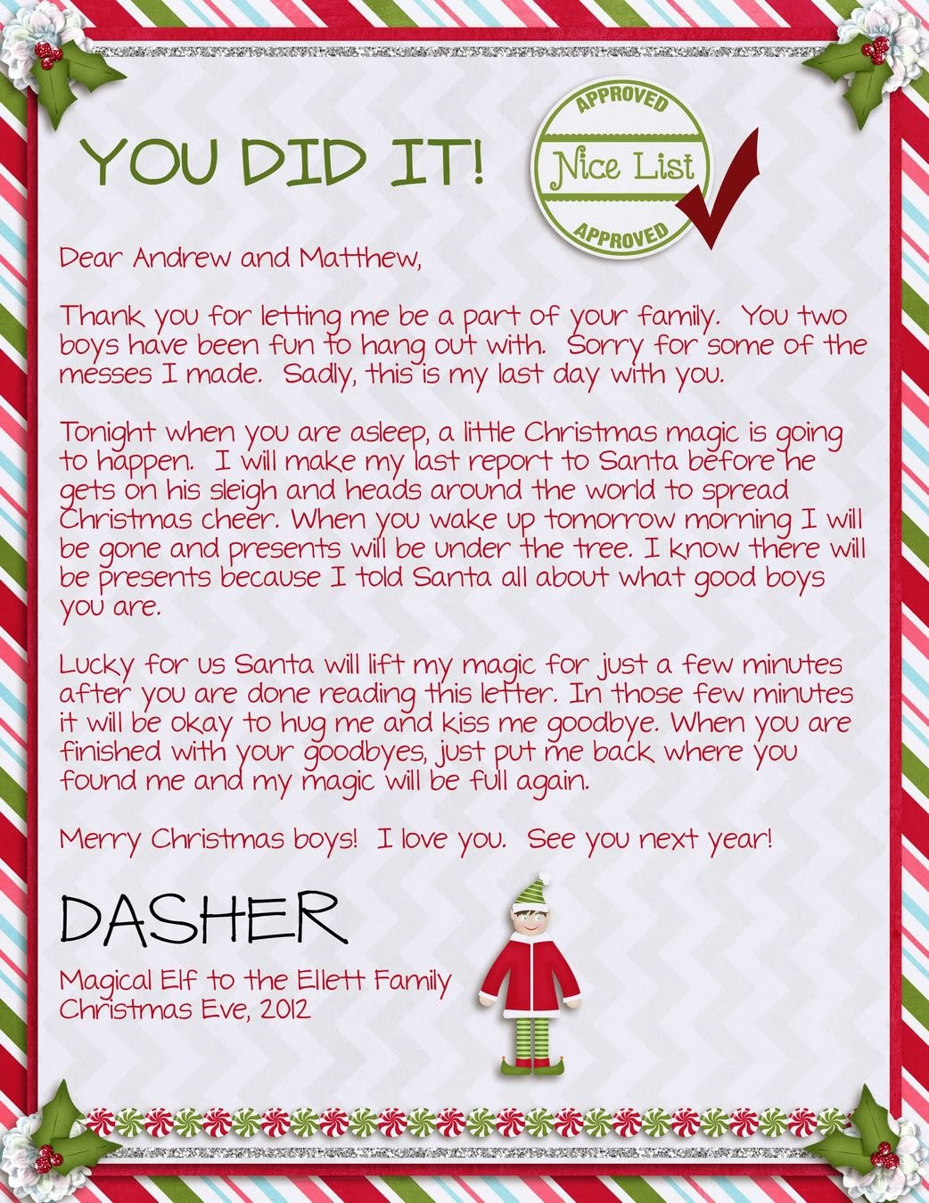 Elf On The Shelf Welcome Letter  Wasn T Quite Sure What To Expect Throughout Goodbye Letter From Elf On The Shelf Template