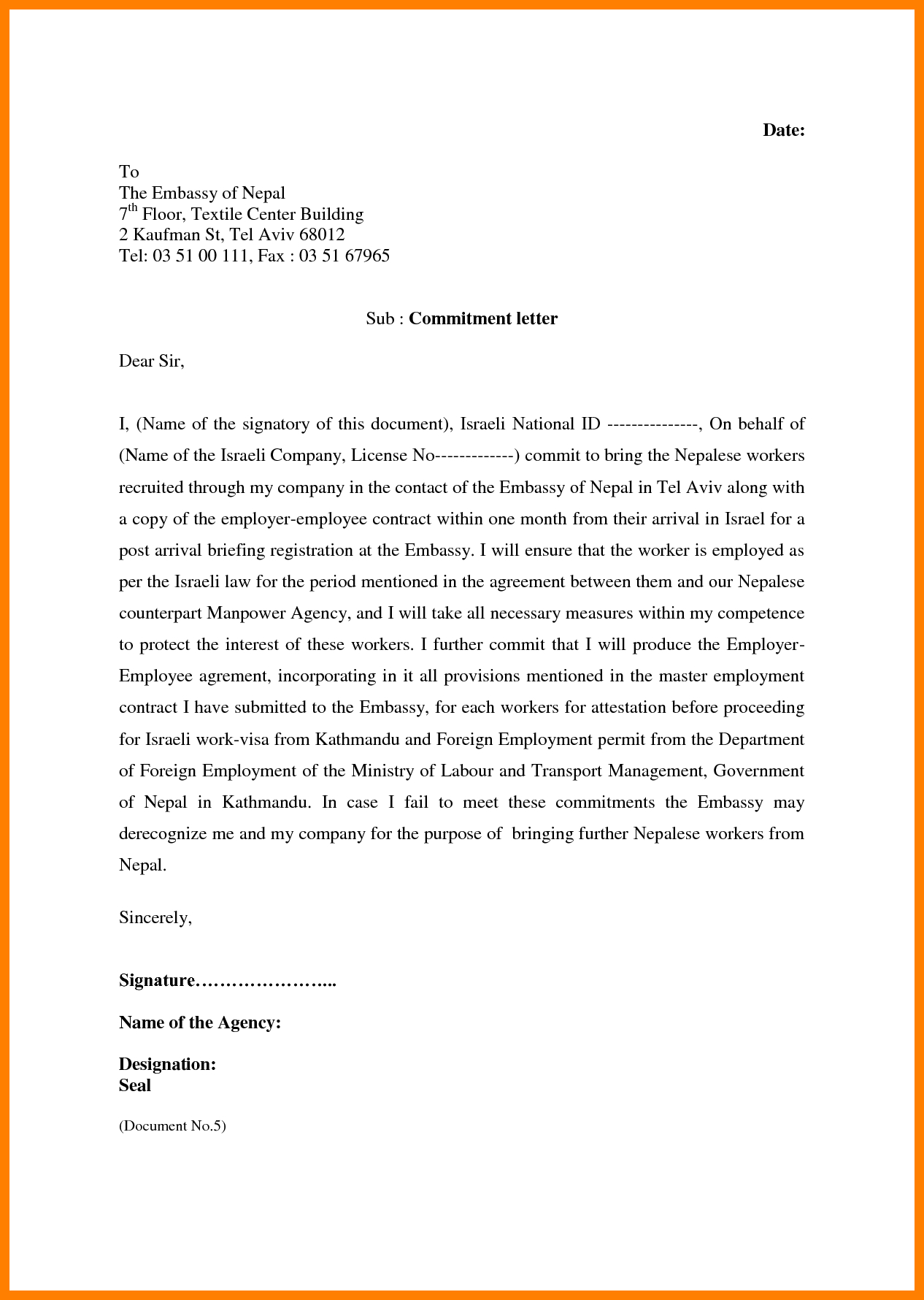 Example Of A Commitment Letter  Ismbauer For Letter Of Commitment Template
