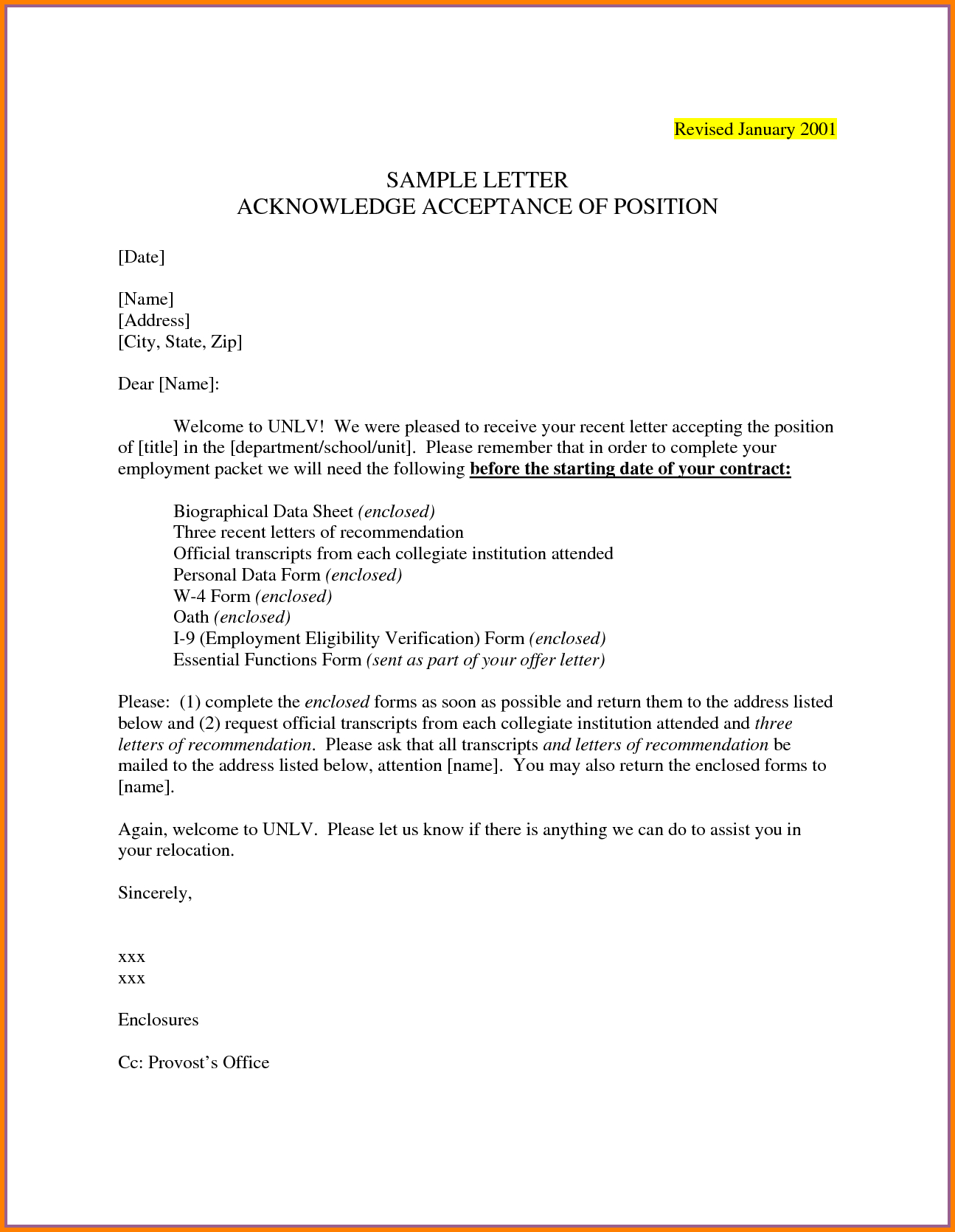 Example Of An Acceptance Letter  Penn Working Papers With Regard To College Acceptance Letter Template