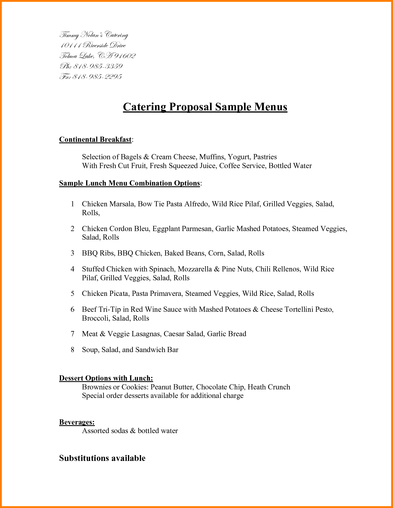 Example Of Catering Proposal Filename  Istudyathes Within Catering Proposal Template