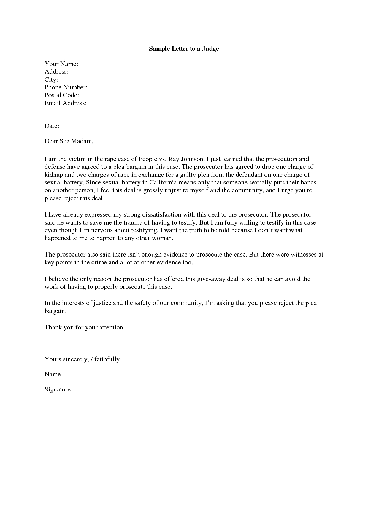 Formal Letter Format To Judge  Examples And Forms Within Letter To A Judge Template