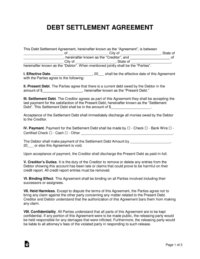 Free Debt Settlement Agreement Template  Sample  Word  Pdf Inside Debt Negotiation Letter Template
