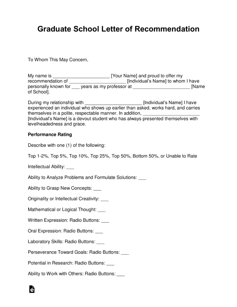 Free Graduate School Letter Of Recommendation Template  With With Regard To Template For Letter Of Recommendation From Employer