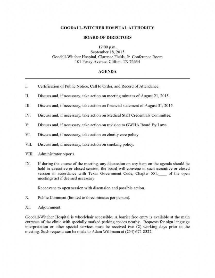 Free Gwha Board Of Directors Meeting Agendas Town Hall Meeting For Board Of Directors Meeting Agenda Template
